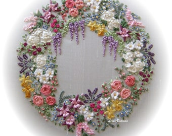 Silk Ribbon Embroidery - Garland of Silk Ribbon Flowers - Full kit