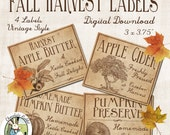 Fall Harvest Labels Thanksgiving Vintage Digital Download Primitive Prim Style Gift Tags DIY Image Illustration Clip Art Collage Sheet