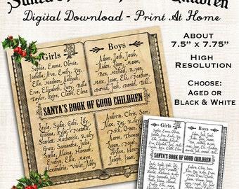 Santas Book Printable Digital Download Vintage Primitive Style DIY Good Children Image Clip Art Collage Sheet