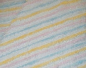 Pastel Striped Plush Vintage Cotton Chenille Bedspread Fabric 12 x 24 Inches