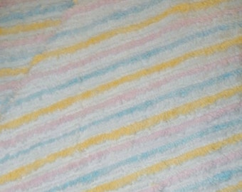 Pastel Striped Plush Vintage Chenille Bedspread Fabric 18 x 24 Inches