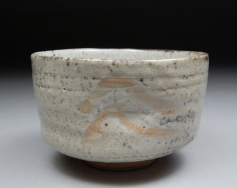 Stoneware Matcha Chawan Tea Bowl glazed with White Shino Natural Iron Spots