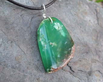 Chrysoprase pendant necklace - handmade in Australia - natural & organic