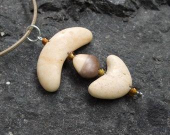 Beach stone necklace - Natural stone jewelry handmade in Australia. beige river stone pendant