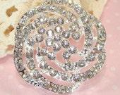 Rhinestone Flower Bracelet Bar Pendant Connector Swirl Silver Crystal (47104) Jewelry Supplies for Bracelets Antique Estate Inspired