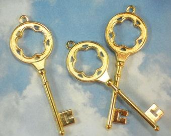 "10 Large Keys Bright Gold Tone 3"" Long Flower Cutout Skeleton 2 Sided Key Pendants (P1450)"