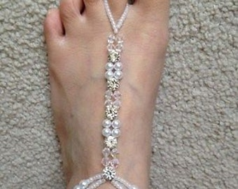 White Pearl Rhinestone ball Barefoot beach sandals Bridal diamante anklet