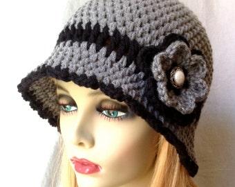 SALE Womens Hat, Grey Flower Cloche, Black Flower, Pearl Button, Flapper Hat, Birthday Gifts, Photo Prop, JE275CF2