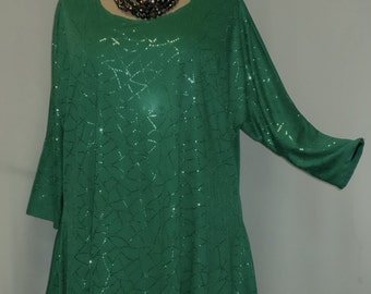 Plus Size Top Coco and Juan Lagenlook Plus Size Top Jade Green Sparkle Drape Sides Tunic Top One Size Bust  to 60 inches