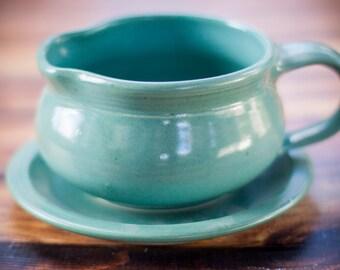 Aqua Blue Gravy Boat- stoneware,handmade Gravy Boat, handthrown