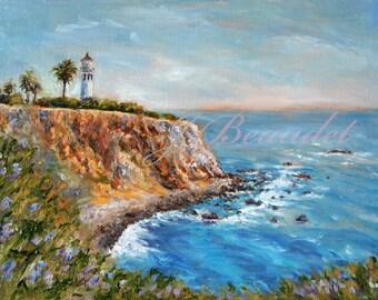 Giclee Print of Original Painting Palos Verdes Lighthouse View Ocean Seascape California Fine Art