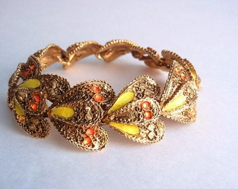 1950s Vintage Capri Bracelet, Enamel, Heavily Textured Gold tone,  Yellow & Orange Enamel