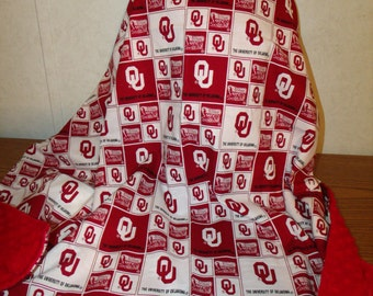 OU Oklahoma University Boomer Sooners Red White Patchwork Cotton and Red Minky Blanket 39x45