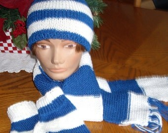 Hat, Mittens, Scarf in Blue and White for Teens or Ladies