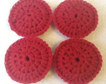 Set of Four Red Double Thickness Nylon Dish Scrubbies