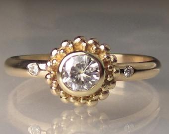 14k Yellow Gold Granulated Moissanite Engagement Ring