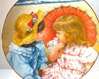 Vintage Childhood Almanac Collector Plate, August Summer Secrets Sisters at Beach, Hamilton Collection Sweet Gender Reveal Party Keepsake,