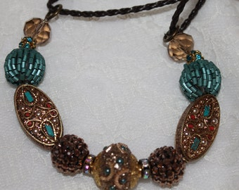 Turquoise and Gold Necklace on Double Rope