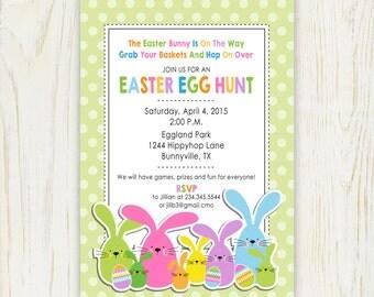 Easter Egg Hunt Bunnies Invitation Printable - Digital File 5x7