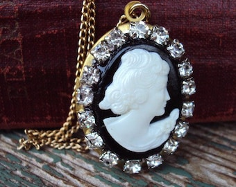 Vintage Locket Necklace Cameo Black and White Silhouette  and Rhinestone Chain