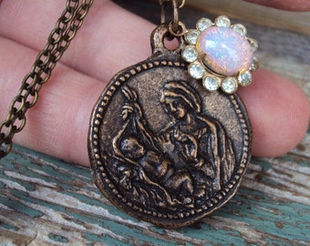 Vintage Coin Opal Pendant Mother Mary and Jesus Caesar Augustus Catholic Madonna Antique Brass