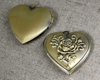 free shipping in UK - pack of 2 - Antique Bronze Brass Locket Pendant Heart
