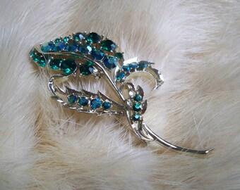 Vintage Jewelry Brooch Rhinestone Leaf Pin Blue & Green Brooch