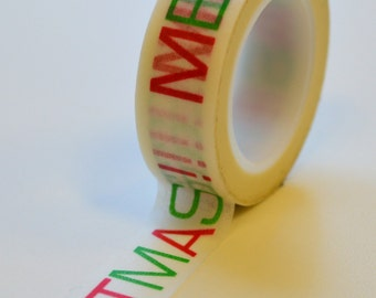 Washi Tape - 15mm - Red and Green MERRY CHRISTMAS - Deco Paper Tape No. 1027