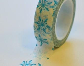 Washi Tape - 15mm Blue Snowflake on White - Deco Paper Tape No. 1005