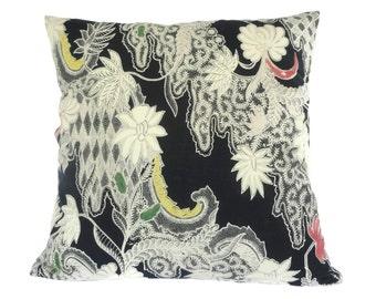 """Pillow, Cushion, Batik, 18"""" x 18"""", Black"""