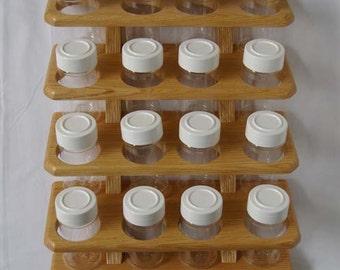 Wooden Spice Rack Oak 16 jar (4 shelves of 4 jars)