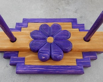 Napkin Holder  ~  Purple Hand Carved Napkin Holder