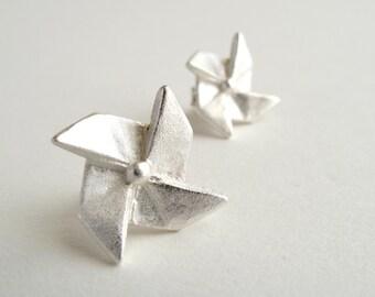 Origami Pinwheel Earrings Sterling Silver Pinwheel Earrings Origami Windmill Studs Origami Jewelry