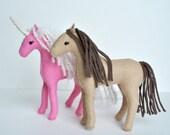 Felt Horse Pattern Waldorf Animal Instant Download, Stuffed Horse, Unicorn, or Pegasus Plush