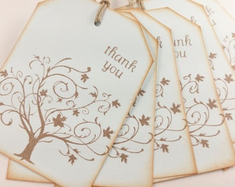 Tree Thank You Tags Leaves Fall Autumn Wedding Cloud Blue Set of 16