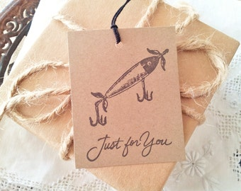 Fishing Tags Vintage Inspired Set of 10