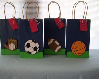 sports favor bags, birthday favor bags, baby shower favor bags