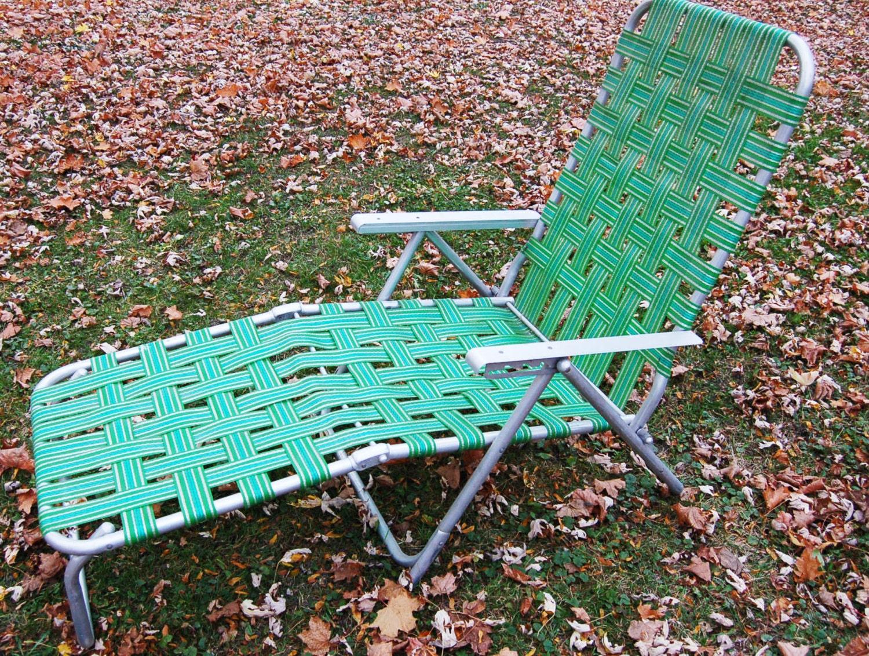 Retro Vintage Aluminum Outdoor Lounge Lawn Chair Aluminum