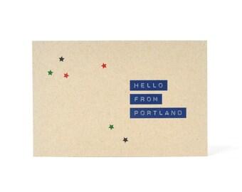 Portland Postcard - recycled kraft paper postcard - Hello From Portland Oregon - Hello From Portland Maine