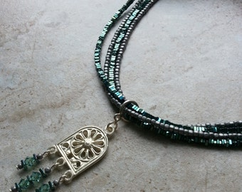Green and Silver Titanium Beaded Necklace