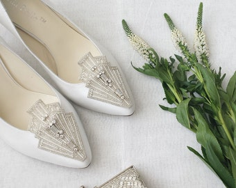 Wedding Shoes Art Deco White or Ivory Flapper 20s Crystals and Pearls Embellishment Kitten Heel Silk Satin Bridal Shoes