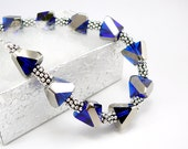 Royal Blue Jewelry, Blue Bracelet, Glass Bead Bracelet, Adjustable Bracelet, Pewter Jewelry, Trendy Bracelet, Girlfriend Gift, Blue Jewelry
