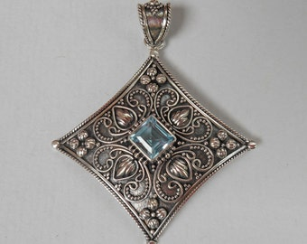 Balinese Sterling Silver Topaz gem pendant / silver 925 / Bali handmade jewelry / 2 inches long