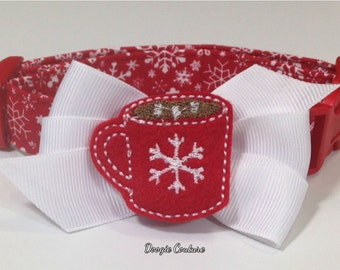 Christmas Cocoa Dog Collar Size XS through Large by Doogie Couture