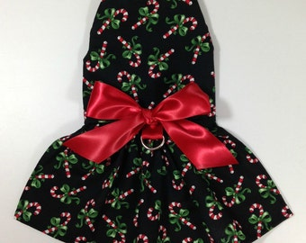 Candy Cane Christmas Harness Dog Dress Size XXXS through MEDIUM by Doogie Couture