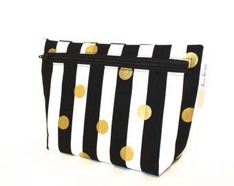 Makeup Bag in Black and Gold - Accessory Bag