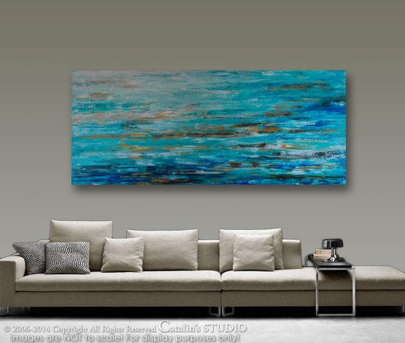 "XXL 72""x30"" Abstract Painting Original Painting Palette Knife Acrylic Modern Ocean  Painting Art by Catalin LARGE Painting Landscape"