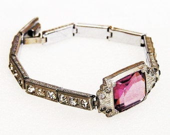 Nov E Line Art Deco Amethyst Glass Rhodium Plate Bracelet