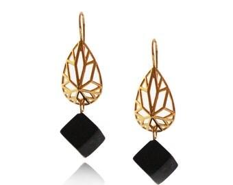 Onyx Earrings, Dangle Black Earrings, Geometric Earrings, Pear Shaped Earrings, Gifts for Her, Cube Earrings