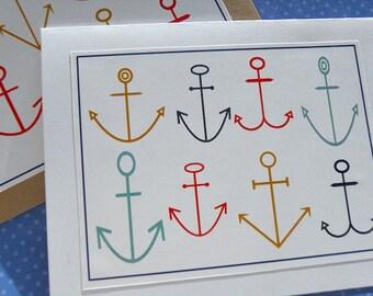 Nautical Cards - Nautical Thank You Cards - Bridal Shower Cards -  Shower Thank You Cards - Anchor Cards -   Kraft cards - PACD
